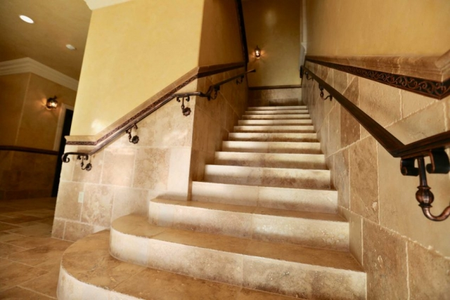 marble and stone walls/floors throughout; staircase to mtg. rooms and gallery